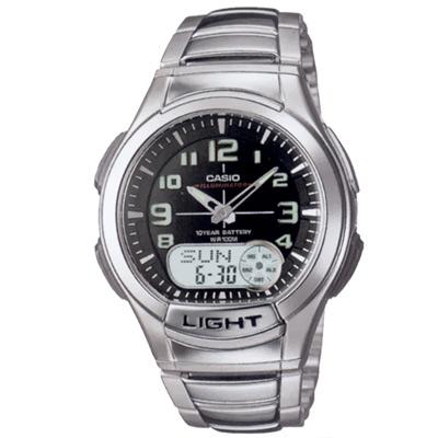 CASIO 超世代強光雙顯時區不繡鋼帶錶(AQ-180WD-1B)-黑