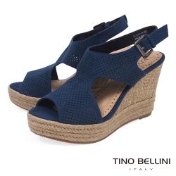 Tino Bellini 性感鏤空曲線魚口楔形涼鞋 _藍