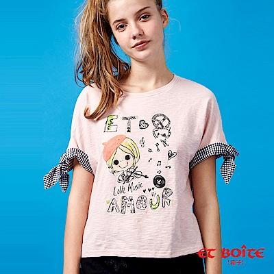 ETBOITE 箱子 BLUE WAY 夏日音樂派對-小提琴娃配格綁袖T恤-粉
