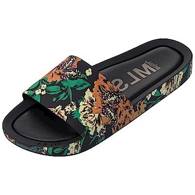 Melissa 彩繪春天印花時尚拖鞋-黑色