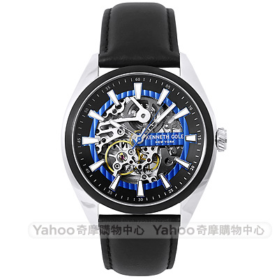 Kenneth Cole 都會時尚鏤空機械錶-黑X藍圈/41mm