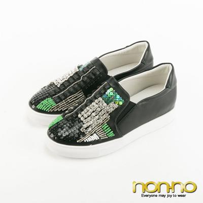 nonno-亮面水鑽串珠懶人鞋-黑