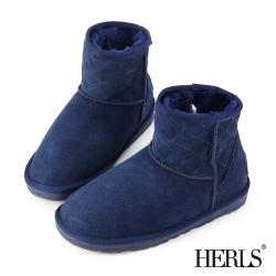 HERLS 全真皮 菱格斜口造型毛絨雪靴-深藍色