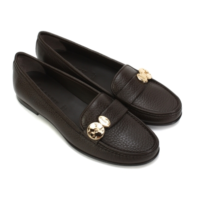BALLY 素面荔枝紋扣環裝飾休閒女鞋-咖啡色