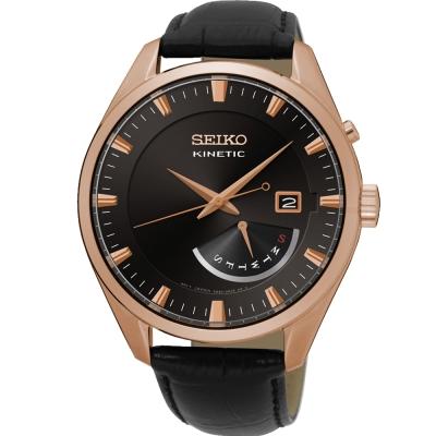 SEIKO Kinetic 精工人動電能復古風尚皮革腕錶(SRN078P1)-黑/42mm