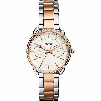 FOSSIL Tailor 優雅時代日曆女錶-玫塊金框x雙色/34mm ES4396