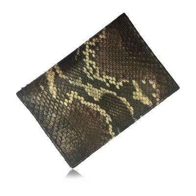 ACUBY 限量單品手工蟒蛇皮護照夾/咖啡黑