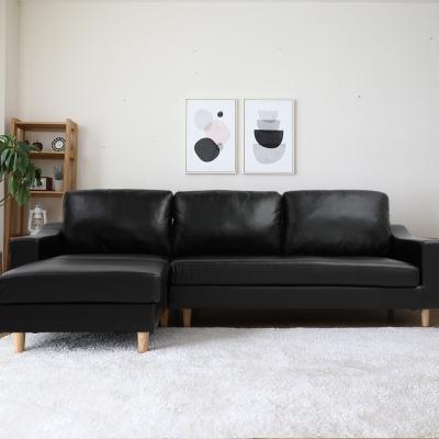 H&D 卑斯曼復古典雅L型皮沙發-兩色可選
