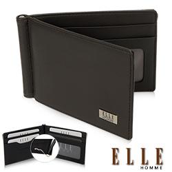 ELLE HOMME 軟牛皮簡易型4卡窗格名片鈔票夾設計短夾- 咖啡色