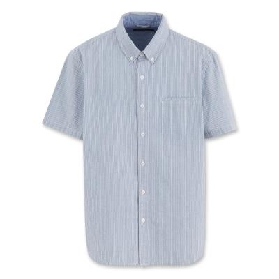 Hang Ten - 男裝 - 流行休閒泡泡紗直條紋襯衫-藍