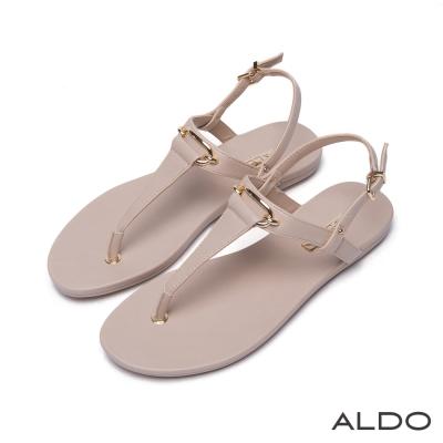 ALDO-原色T字幾何方形金屬釦拉帶式涼鞋-名媛裸