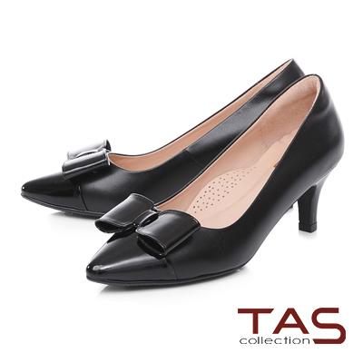 TAS 簡約蝴蝶結拼接高跟鞋-人氣黑