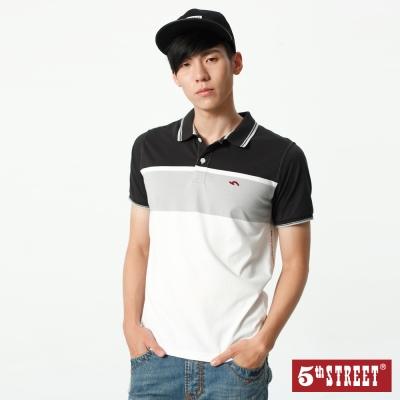 5th STREET 大色塊涼感條紋POLO衫-男-黑色