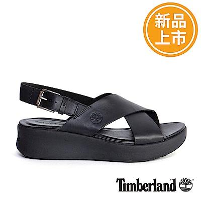 Timberland 女款黑色皮革露跟涼鞋