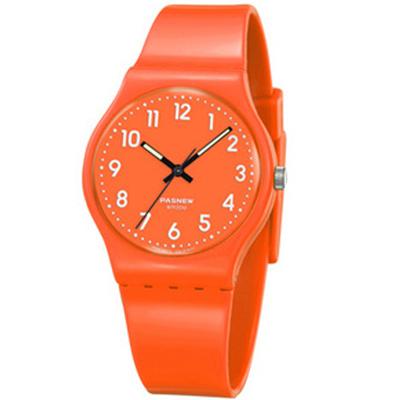 PASNEW 輕巧炫彩指針腕錶-陽光橘/34mm
