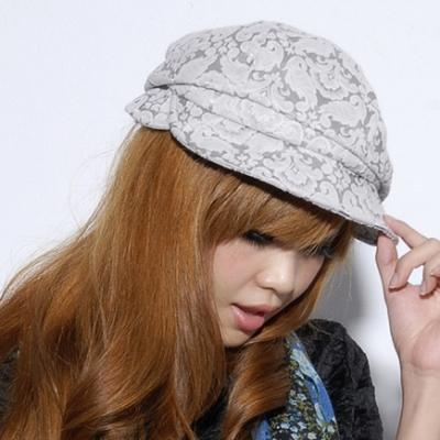 Aimee-Toff-優雅漫花歐式貝雷帽-灰