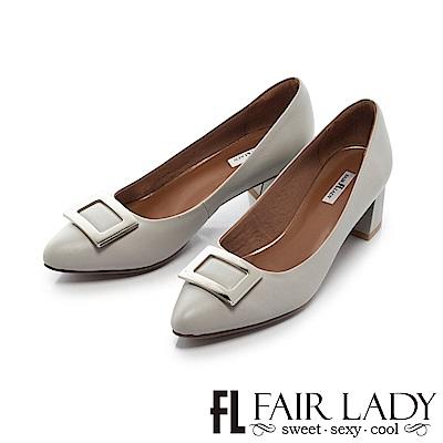 Fair Lady 優雅小姐Miss Elegant 魅力尖頭低跟鞋  經典灰