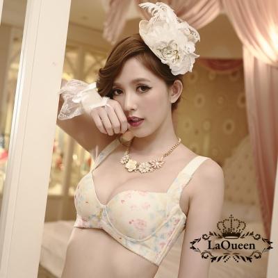 內衣 渲染花樣蠶絲無鋼圈成套內衣-黃 La Queen