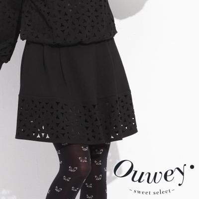 OUWEY歐薇-立體壓褶縷空裙-共2色