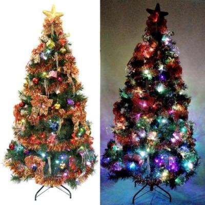夢幻多變6尺(180cm)彩光LED光纖聖誕樹(+紅金色系飾品組)