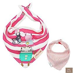 Baby unicorn 橫紋貓咪純棉雙面三角造型圍兜口水巾