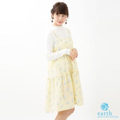 earth music 花朵打印細肩帶連身裙+荷葉邊微高領長袖上衣