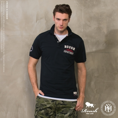 ROUSH 立體雙層貼布短袖polo衫(4色)