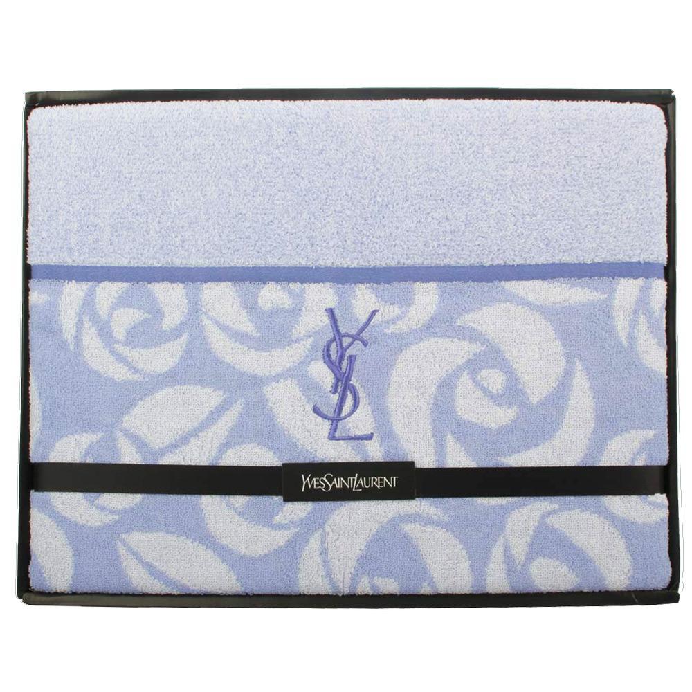 YSL 刺繡LOGO玫瑰圖紋純綿蓋被-水藍色