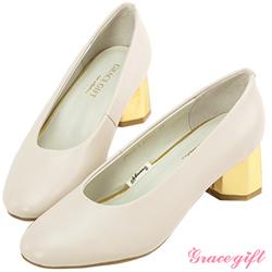 Grace gift-全真皮素面拼接造型中跟鞋 米白