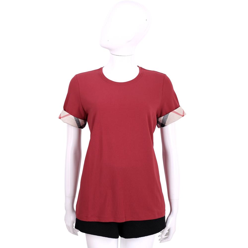 BURBERRY 紅色經典格紋設計短袖上衣