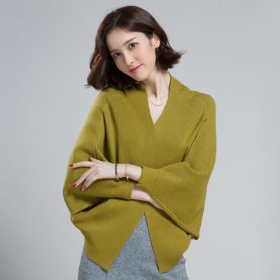 Seoul Show 羊毛針織短版蝙蝠袖外套斗篷披肩毛衣 芥黃