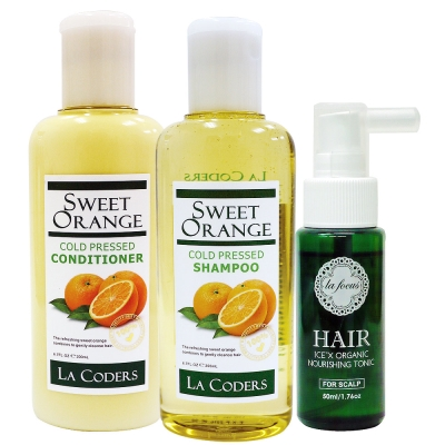 蕾舒法克-甜橘育毛養護組(甜橘洗髮200ML+潤絲200ML+頭皮滋養液50ML)