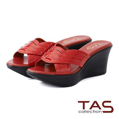 TAS 曲線編織繫帶厚底楔型涼鞋-法式紅