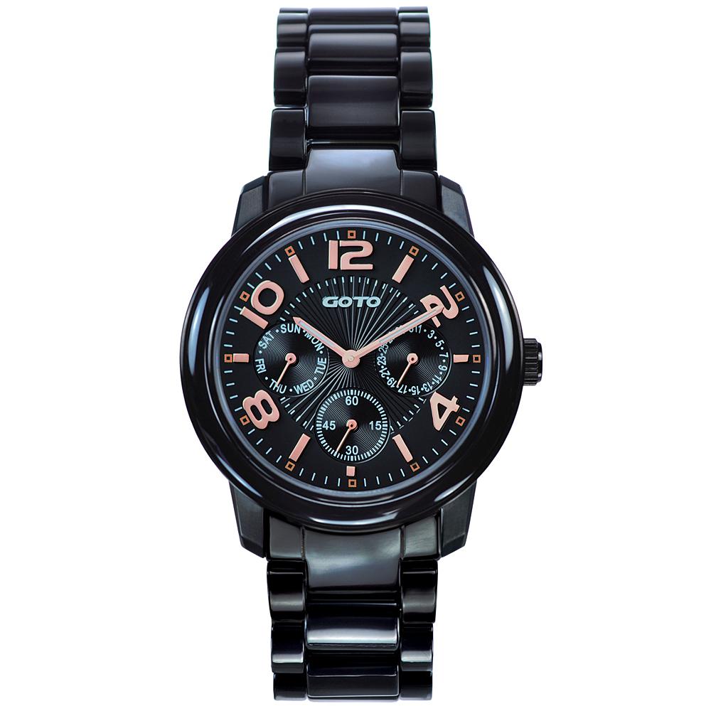 GOTO藍寶石鏡面三眼陶瓷手錶-黑/34mm