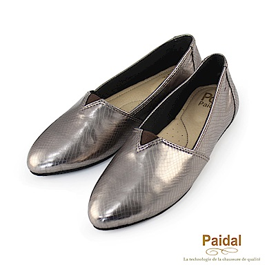 Paidal金屬系漆亮皮蛇紋時尚尖頭鞋-古銅金