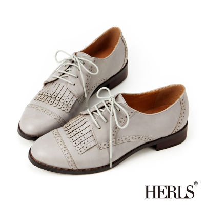 HERLS-復古英倫流蘇牛津鞋-灰色