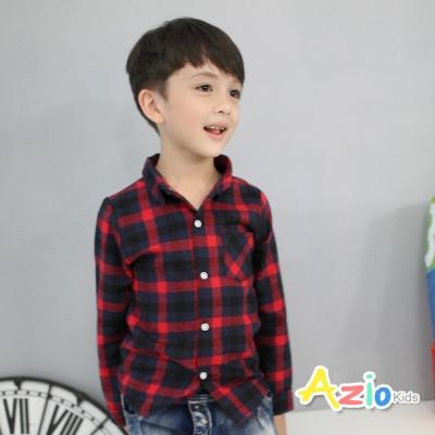 Azio Kids 童裝-襯衫 大格紋配色單口袋長袖襯衫(紅)