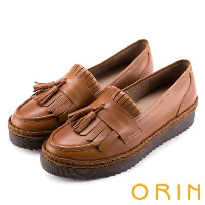 ORIN 懷舊復古文青風 簡約流蘇真皮樂福鞋-棕色