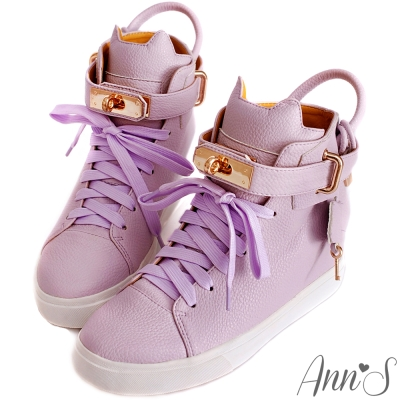 Ann-SXB2B貓咪鎖頭柏金包內增高球鞋-粉紫