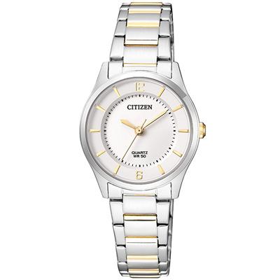 CITIZEN星辰 雅典娜金色指針簡約氣質女仕手錶(ER0201-72A)-白/27mm