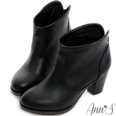 Ann'S顯瘦百搭素面後V口粗跟踝靴-黑