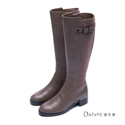 達芙妮DAPHNE-長靴-側釦帶拼接粗跟長靴-駝8H