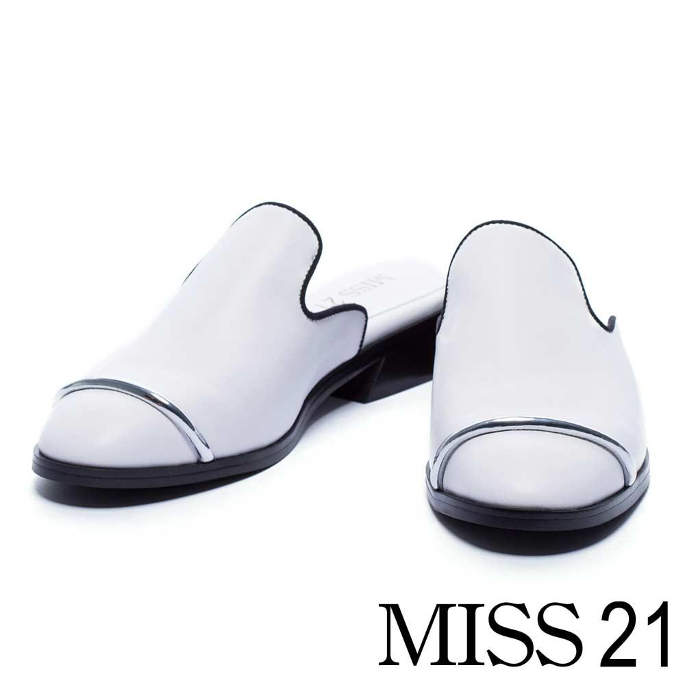 拖鞋 MISS 21 金屬純色紳士風粗低跟拖鞋-白
