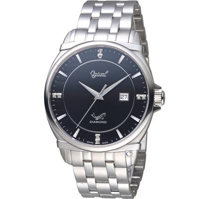 Ogival愛其華典藏真鑽紳士錶(350-04MS)黑/40mm