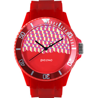 PICONO 繽紛主題 - 方塊遊樂場系列手錶 - 紅/40mm