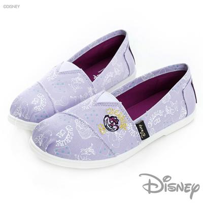 DISNEY-愛麗絲系列-恰奇笑臉貓插畫懶人鞋-紫-女