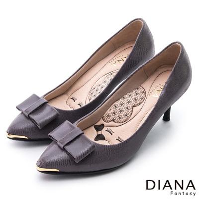 DIANA 漫步雲端LADY款--蝴蝶結尖頭真皮跟鞋-灰紫