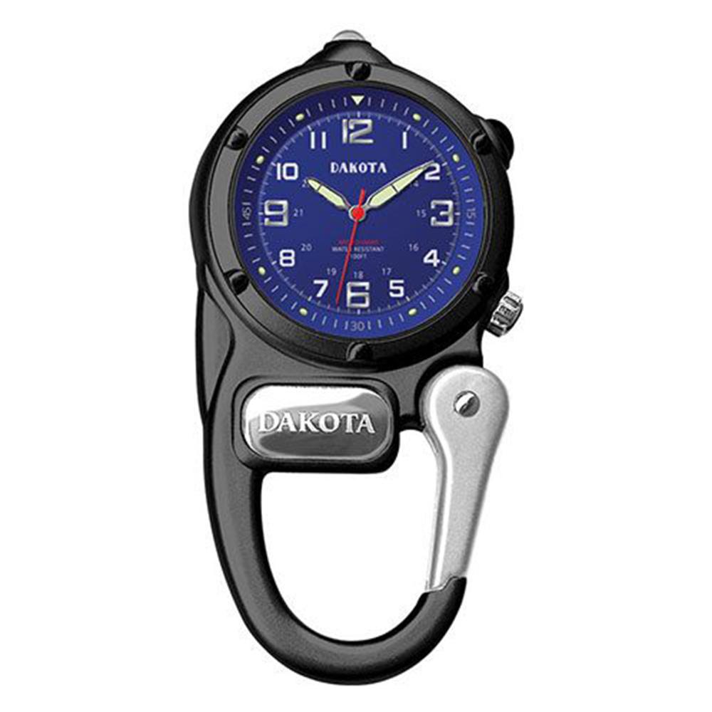 DAKOTA迷你掛勾系列微光軍事撥號藍色錶盤黑色框登山錶黑色掛錶40mm