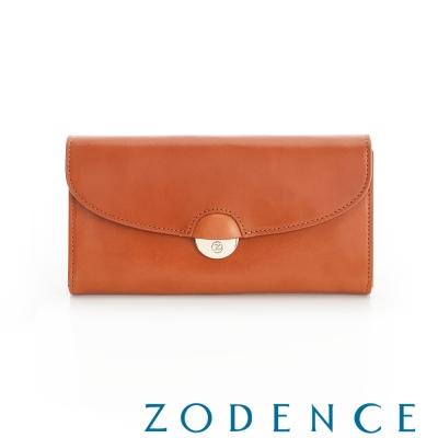 ZODENCE 義大利植鞣革系列唯美弧形五金設計長夾 橘紅