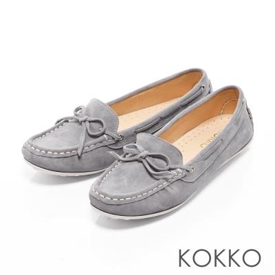 KOKKO - 極致手感蝴蝶結羊麂皮莫卡辛便鞋-中性灰